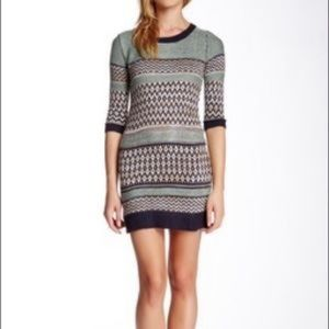 Pink rose patterned knit sweater bodycon dress xs